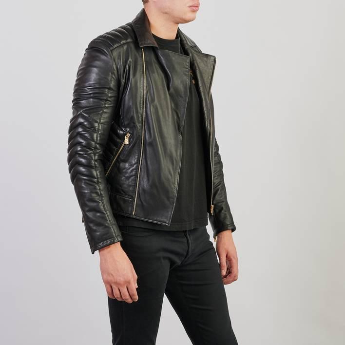 Кожаная куртка H&M & Versace